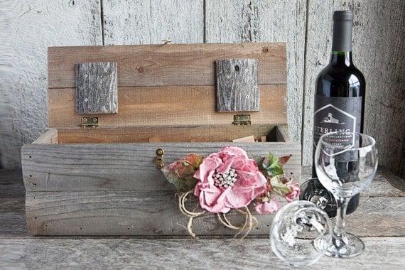 bo te vin en bois rustique bo te vin de mariage bo te. Black Bedroom Furniture Sets. Home Design Ideas