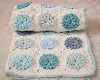 Crocheted Blanket, Cotton Blanket, Mint, Turquoise, White, Light Blue, Grey, Aqua Blanket, Shower Gift, Photo Prop