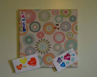 "Cork Board 14"" x 14"" Fabric Covered with Multi-colored Starburst/Mandala Design"