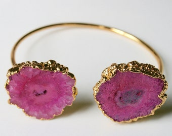 Natural Solar Quartz Agate Bracelet Bangle - Pink