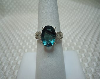 Oval Concave Cut Banded Fluorite Ring in Sterling Silver   #1957