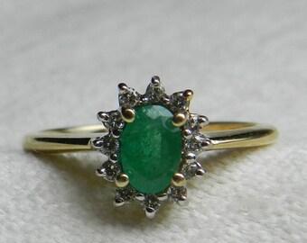 Emerald Ring Colombian Emerald Ring Diamond Halo French Maker Alwand Vahan Emerald Diamond Halo Ring May Birthstone