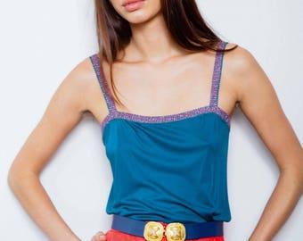 sweet vintage 70s MISSONI fine silk tank top camisole lurex straps
