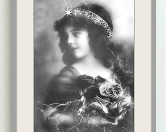 Vintage image altered art,Charming Girl,Roses,vintage art,vintage photo,Image Instant Download.