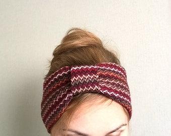 Winter Turban headband, Cranberry Red Headwrap, Warm Knit Headband, Fashion Headband, Hair Accessory, Christmas gift women, Adult Headband