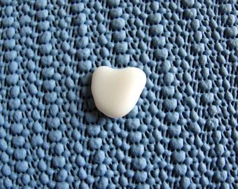 White milk glass heart Sea glass heart  beach glass  heart