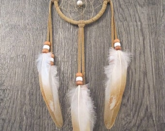 ON SALE Dream Catcher Buckskin Suede with Rooster Wing Feathers ~ Cruelty Free