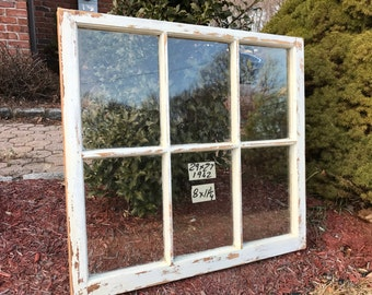 29 x 27 Vintage Window sash frame old 6 pane  from 1942