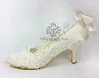 Ivory satin with lace and bow Closed Toe Or Peep toe Mid Heel Low Heel High Heel Kitten Heel Low wedding shoes