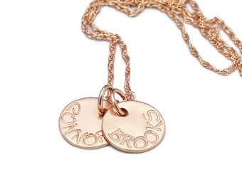 Hand Stamped Names Necklace Rose Gold Necklace Personalized Mother's Necklace Hand Stamped Jewelry Custom Names Necklace
