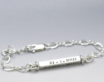 Hand Stamped Jewelry - Personalized Roman Numerals Bracelet Name Bracelet Sterling Silver Swivel Bar Bracelet