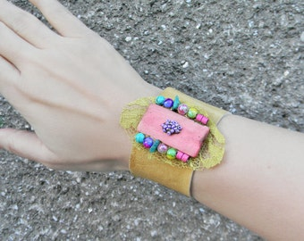 Colorful leather bracelet Wrist cuff with mixed beads-lace-wooden pendant, Boho gypsy leather cuff Boho beaded cuff Wide cuff bracelet