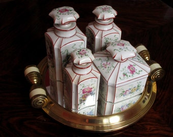 4 Piece French Vintage Porcelain Vanity Set - Dresser Set - Hand Painted - Luxury for your Bed and Bath