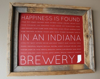 Happiness Is Found In An Indiana Brewery Word Art Print (Red) - Unframed