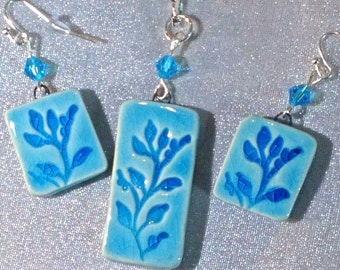 Turquoise Botanical Jewelry Set  Ceramic Jewelry Set, Turquoise Jewelry Set, Botanical Vine jewelry, Pottery Jewelry, Vining Plant Jewelry