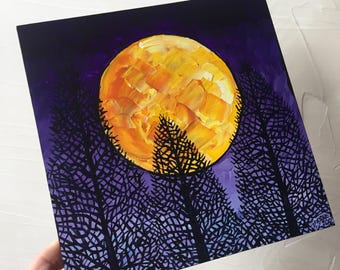 Golden Pine Moon original painting