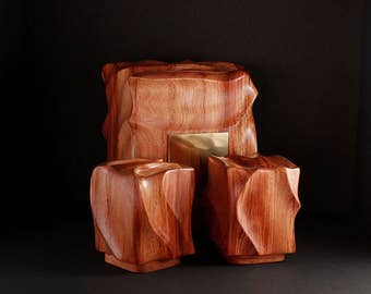 Sculpted Bubinga Cremation Urn and two keepsake boxes / Cremation Urn / Wood Cremation Urn / Urn / Funeral urn / Memory Boxes