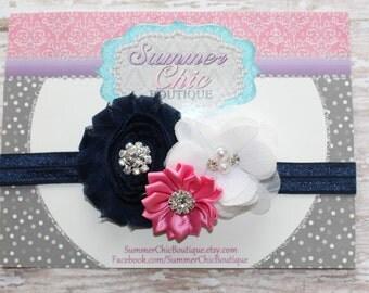 Baby Headband, Infant Headband, Newborn Headband, Pink, Navy Blue, and White Headband, - Navy, Pink, and White Baby Headband, Pink and Navy