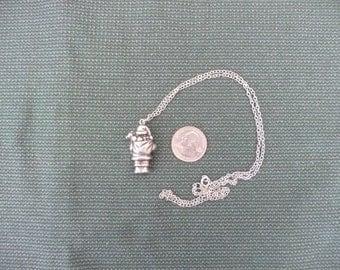 miniature Pewter santa necklace