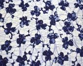 Indigo Floral Roketsuzome Vintage Japanese cotton kimono fabric