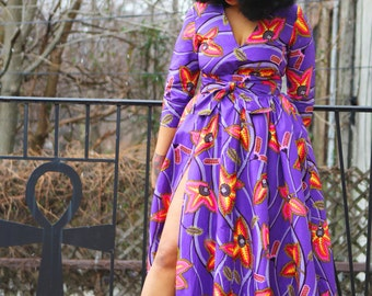 PuRpLe FLoRaL MaXi AFrIcAn PrInT DrEsS - NeW!