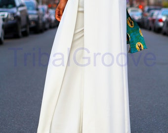 Off White or Black Wide Leg Faux Wrap Pants