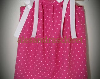 Pretty In Pink And White Polka Dot Pillowcase Dress Toddler Girls Infant Spring Summer Simple Dress