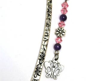 Silver Butterflies and Flowers Shepherd's Hook Bookmark with Rose PInk Swarovski Crysyals, Purple Dogtooth Amethyst Beads, and Silver Charms