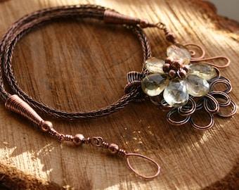 7th Anniversary Lemon Quartz flower Copper Viking Knit Necklace Copper Necklace Copper Jewellery Flower Design Jewelry Handmade Necklace