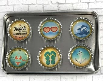 Retro Beach Magnets Summer Love Bottle Cap Magnets 1950's Beach Magnets Unique Gift Set Office Decor Repurposed Magnets