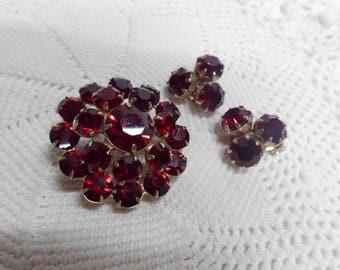 Weiss Ruby Red Rhinestone Brooch Pin & Earrings Vintage Clip Ons Vintage Designer Jewelry Demi Parure