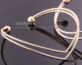 10PCS-Free Size High Quality Nickel Free And Lead Free Bright Gold Plated Brass Wire Bangles of Deco Bracelet (E369G)