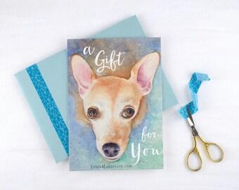 GIFT CERTIFICATE - Custom Pet Portrait Painting - Dog Lover Gift - Pet Memorial Gift - Pet Sympathy - Original Watercolor Painting