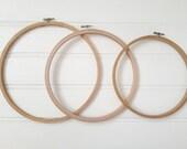 Embroidery hoop, 3 pack, 10 inch, 9 inch, 8 inch, ring hoop, cross stitch hoop, wooden embroidery hoop, x stitch, craft hoop, sewing frame