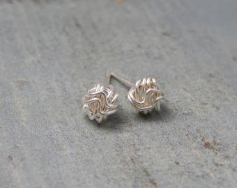 Tiny Stud Earrings, Tiny Sterling Silver Wave Knot Earrings, Post Earrings, Dainty Earrings, Minimalist Earrings, Gift For Her