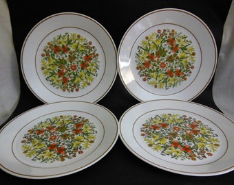 """Vintage Corelle Indian Summer Plates 1970's Corelle 10 1/4"""" Dinner Plates w/flowers floral pattern in center set of 4 Excellent Condition"""
