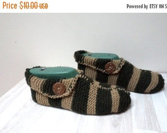 ON SALE Slippers Socks hand knitted Leg warmer brown green stripe size 6 7 8 9 handmade stretchable ready to ship Wool large woman children