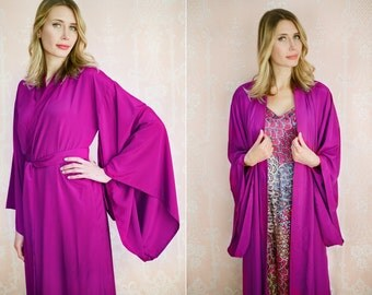 "Custom ""Noguchi"" kimono robe in faux silk and matching satin cami slip. Long bohemian vintage style Purple kimono with pockets Gift for her"