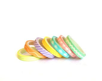 Set of 7 Washi Tapes Pastel small