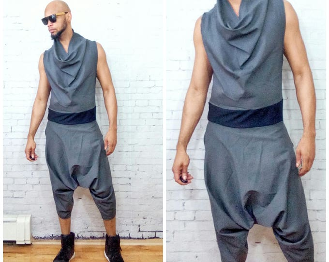 Draped Cowl Neck Harem Pant  Woven One piece Sleeveless Back Zip jumpSuit Color - Grey Inspired By-  ysl westwood rick owens romper romphim