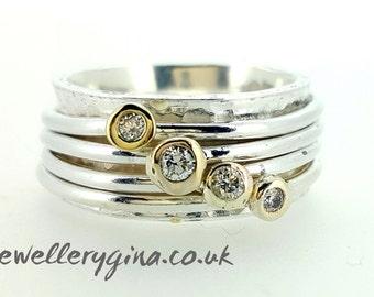 Diamond set spinning ring, spinning ring, mothers ring, worry ring