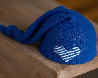 Newborn Boy Hat, Newborn Hat, Newborn Props, Upcycled Newborn Hat, Blue Newborn Hat, Newborn Knot Hat, Sleepy Time Hat, Blue and White Hat