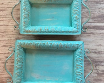 REDUCED Turquoise Blue, Aqua Blue, Sea Foam Blue, Distressed, Trays