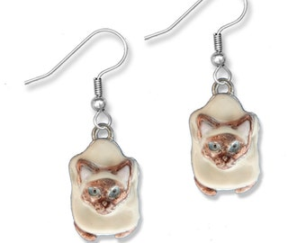 Enamel Sitting Siamese Cat Earrings