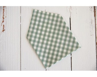 Cotton handkerchief bio green gingham, zero waste, ecological and economic.