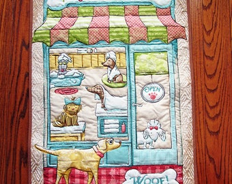 The Pampered Pooch, Dog Quilt, Wall Hanging, Quilted Panel, Dog Lover quilt, Dog grooming, Comforter D-50