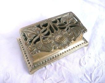 Vintage stamp box - brass stamp box - Art Nouveau stamp box - brass trinket box - vintage brass box