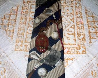 Vintage Spyglass Hill Men's Tie  - 100% Silk - Handmade - Golf - Novelty Tie - Made in USA