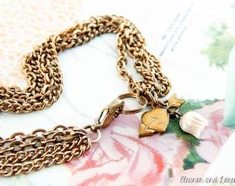 Upcycled brass charm bracelet / brass bracelet / chain bracelet / vintage bracelet / upcycled bracelet / recycled jewelry / boho bracelet