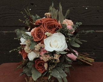 Cafe Mocha Brown, Blush, White, Sage & Pink Wedding Brides Bouquet, Preserved Rose Bridal Bouquet and Boutonniere Set, Dried Flower Bouquet